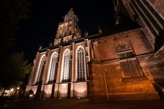 The enlightened The Saint Walburgiskerk church in Zutphen. Histo stock images