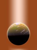 Enlightened world, golden. Planet, illuminated by heavenly light Vector Illustration