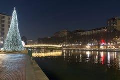 Enlightened Xmas tree and bridge at Darsena, Milan, Italy Royalty Free Stock Photo