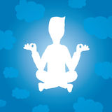 Enlightened yoga silhouette of man floating Stock Photography
