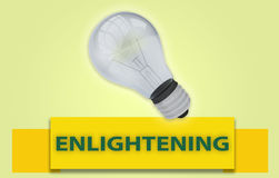 ENLIGHTENING concept with banner and light bulb. Colorful ENLIGHTENING concept with yellow text banner and 3d rendered domestic light bulb, isolated with a glow Royalty Free Stock Photo