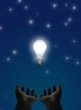 Enlightenment. Two hands reach upward toward a glowing bulb as if presenting and praising the object Stock Illustration