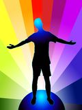 Enlightenment. Illustration of a person with stretched arms, standing on globe, on rainbow colored background; additional vector format available Stock Photos