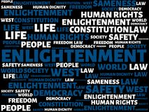 ENLIGHTENMENT - IGNORANCE - image with words associated with the topic COMMUNITY OF VALUES, word, image, illustration Stock Photo