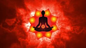Silhouette of the person meditating activate the Sacral chakra