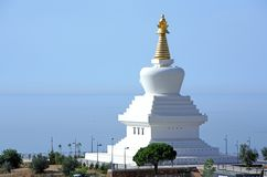 Enlightenment Stupa Buddhist Temple in Spain. Stunning and new Enlightenment Stupa Buddhist Temple at the top of Benalmadena in Spain royalty free stock photo