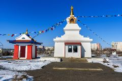 Enlightenment Stupa in spring. Elista. Russia. Enlightenment Stupa in spring. Elista. Kalmykia Russia royalty free stock photo