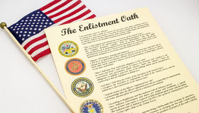 Enlistment Oath United States of America. Enlisted oath for joining all branches of the military Stock Image