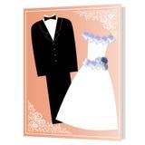 Enmarque la novia y al novio stock de ilustración