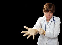 Enmascarado con los guantes del látex Fotos de archivo libres de regalías