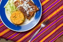 Enmoladas, Mexicaanse die enchiladas met molsaus wordt gemaakt royalty-vrije stock afbeeldingen