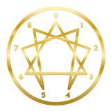 Enneagram Golden Symbol Numbers Circle Personality Ring. Golden Enneagram of Personality. Sign, logo, pictogram with nine numbers, ring and typical structured stock illustration