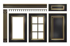 Ennegrézcase con la puerta del oro, cajón, columna, cornisa para el armario de cocina aislado en blanco Fotografía de archivo libre de regalías
