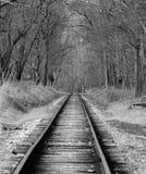 Ennegrezca las pistas de un ferrocarril del blanco Fotografía de archivo libre de regalías