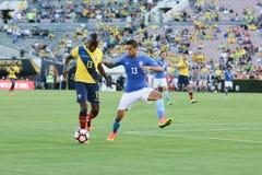 Enner Walencja i Marquinhos bój dla piłki podczas Copa Obrazy Royalty Free