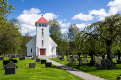Enningdalen Church. Is located at the far southeastern RV22 in Halden municipality in Østfold. It is located at Enningdal, about 4 km north of the Swedish Royalty Free Stock Photo