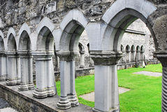 Ennis Abbey Cloister. The remains of the cloister walkway at Ennis Abbey, Ennis, Country Clare, ireland Royalty Free Stock Photography