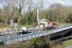 Ennis, Ireland - Feb 25, 2016:  Bridge repair motorway maintenance Stock Image