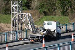 Ennis, Ireland - Feb 25, 2016:  Bridge repair motorway maintenance Stock Photo