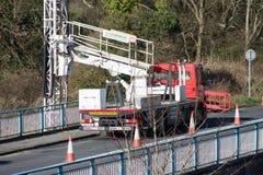 Ennis, Ireland - Feb 25, 2016:  Bridge repair motorway maintenance Royalty Free Stock Image