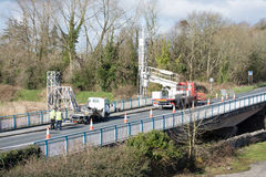 Ennis, Ireland - Feb 25, 2016:  Bridge repair motorway maintenance Royalty Free Stock Photography