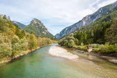 The Enns river in the mountains of Styria, Austria Stock Images