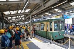Enoden, electric train in Kamakura, Japan Stock Images