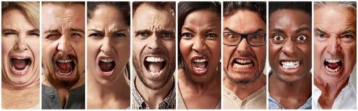 Enojado, furia y gente de griterío imagen de archivo libre de regalías