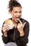 Enojado por seu sanduíche Imagens de Stock