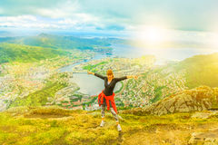 enojoying在挪威的妇女 库存照片