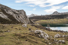 Enol Lake in the mountains Royalty Free Stock Image