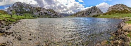 Enol Lake Panoramic Stock Image