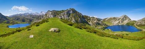 Enol och Ercina sjöar panorama- Picos de Europa royaltyfria foton