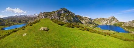 Enol och Ercina sjöar panorama- Picos de Europa arkivfoton