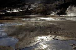 Enorm ånga gyttjapöl, Seltun, Island arkivbilder