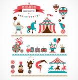 Enorm cirkussamling för tappning med karnevalet, gyckel Arkivfoto