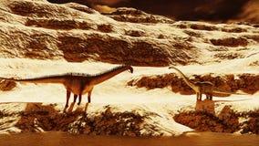 Enorm diplodocus på kargt land vektor illustrationer