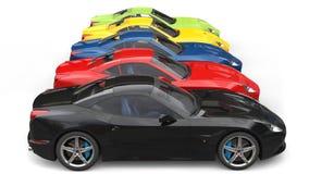Enorm färgrik sidosikt för sportbilar i rad - vektor illustrationer