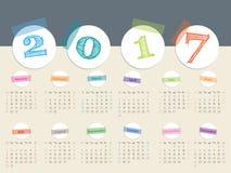Enorm för bandkalender för 2017 färg design Royaltyfri Fotografi