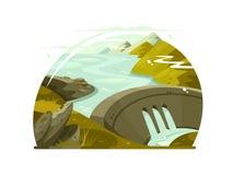 Enorm fördämning för flod stock illustrationer