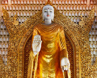 Enorm guld- staty av den stående Buddha i buddistisk tempel Royaltyfria Bilder