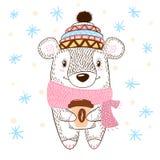 Enorm kramillustration för gullig björn Vinter, te och kaffe royaltyfri illustrationer