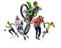 Enorm mång- motocross för hockey för fotboll för friidrott för sportcollagefotboll Royaltyfria Bilder