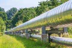 Enorm metallgasledning som transporterar gas royaltyfria foton
