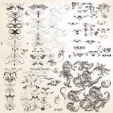 Enorm samling av dekorativa calligraphic krusidullar för vektor för stock illustrationer