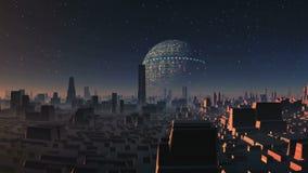Enorm ufo över främmande stad
