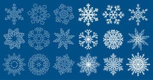 Enorm uppsättning av blåa snöflingor stock illustrationer