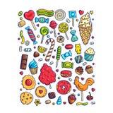 Enorm uppsättning av färgrika godisar och sötsaker för tecknad filmklotterform vektor illustrationer