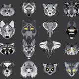 Enorm uppsättning av geometriska djur vektor illustrationer