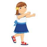 Enorm vektorillustration för liten flicka stock illustrationer